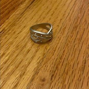 Costume Silver Ring with Rhinestones
